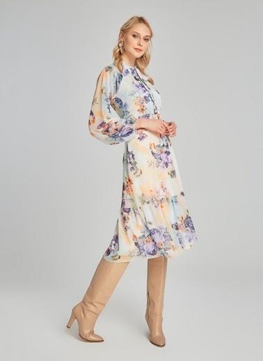 People By Fabrika Yaka Detaylı Desenli Elbise Ekru